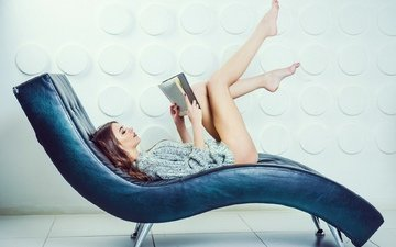 girl, pose, model, legs, hair, face, posing, book, reading
