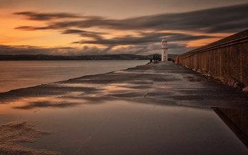 the sky, clouds, sea, lighthouse, england, tide, brixham