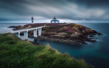 sea, lighthouse, bridge, spain, isla pancha, galicia