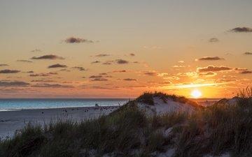 небо, трава, облака, солнце, море, пляж, рассвет, лето