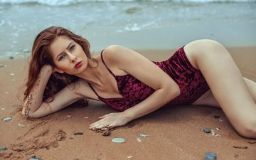 sea, pose, sand, beach, look, model, swimsuit, pebbles, stephanos georgiou, barbora rugova