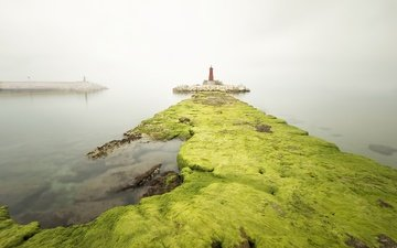 stones, sea, fog, lighthouse, pierce