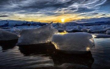 небо, облака, солнце, море, утро, лёд