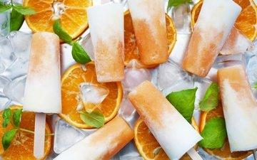 мороженое, апельсины, сладости, лёд