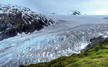горы, снег, природа, лёд, аляска, фьорд