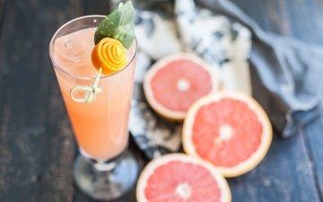 напиток, фрукты, бокал, цитрусы, грейпфрут, сок, деревянная поверхность