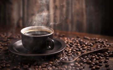 напиток, зерна, кофе, стол, блюдце, чашка, пар, ложка, боке