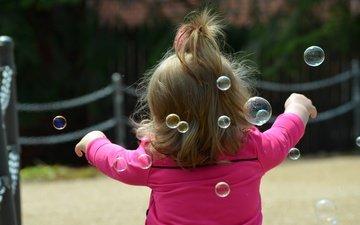 настроение, дети, девочка, волосы, ребенок, мыльные пузыри