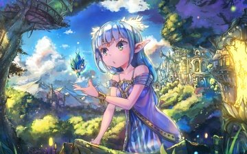 the sky, art, castle, the city, girl, ears, surprise, elf, magic, tale, blue hair, nattorin