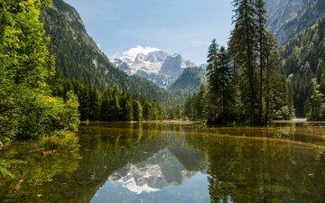 небо, деревья, озеро, горы, скалы, солнце, лес, австрия, gosau