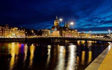 небо, фонари, огни, вечер, река, мост, дома, набережная, нидерланды, амстердам