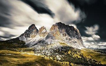 небо, облака, деревья, горы, природа, горные вершины