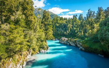 the sky, clouds, trees, river, mountains, the sun, stones, greens, forest, new zealand, kowhitirangi