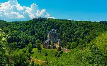 the sky, clouds, trees, the sun, greens, forest, summer, mountain, castle, the view from the top, germany, eltz castle