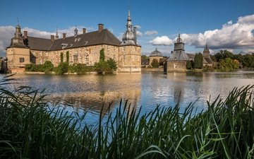 the sky, clouds, trees, castle, pond, germany, the reeds, sunny, castle lembeck