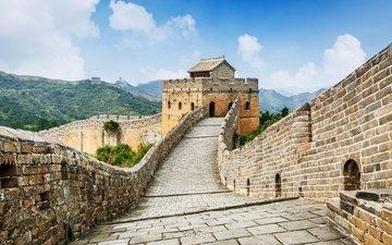 небо, облака, горы, природа, китай, великая китайская стена