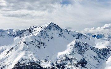 небо, облака, горы, снег