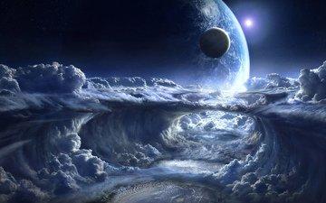 himmel, wolken, kosmos, landschaft, planet, weite