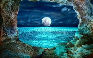 небо, облака, ночь, пейзаж, море, скала, луна, окно, арка