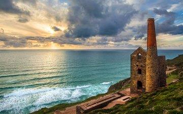 небо, облака, развалины, море, горизонт, побережье, башня, англия, крепость, churchtown