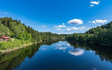 небо, облака, река, лес, отражение, норвегия, storelva river