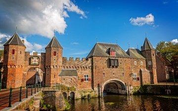 небо, облака, река, солнце, замок, канал, стены, башни, нидерланды, амерсфорт