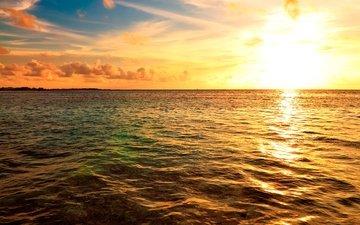 небо, облака, солнце, море, горизонт, рассвет, побережье, мальдивы
