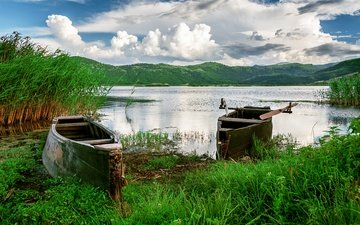 the sky, grass, clouds, lake, hills, nature, boats