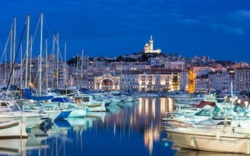 the sky, the evening, yachts, boats, home, france, marina, marseille