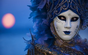 night, mask, venice, italy, feathers, carnival