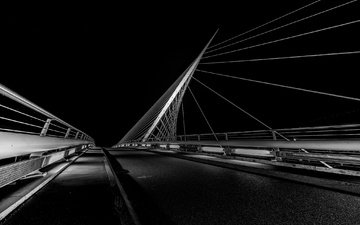 night, bridge, black and white, support, netherlands, nieuw-vennep