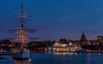 night, lights, ship, sailboat, coast, bay, home, sweden, liner, court, stockholm