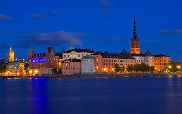 night, lights, sea, home, sweden, stockholm