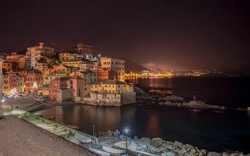 ночь, огни, море, город, италия, лигурия, генуя