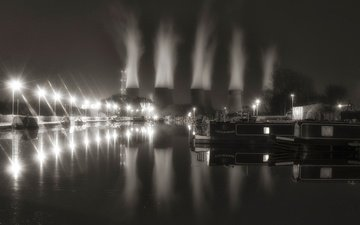 night, lights, landscape, black and white, england, nottingham, power station ratcliffe