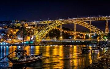 ночь, огни, река, мост, лодки, дома, набережная, португалия, суда, порту, портус кале