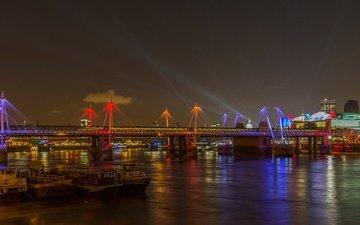 night, lights, river, bridge, uk, london, boats, golden jubilee bridge