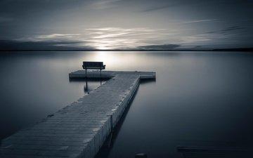 небо, облака, ночь, озеро, горизонт, пирс, скамья