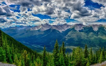 clouds, trees, mountains, forest, valley, canada, banff