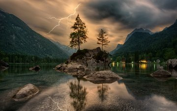 clouds, trees, lake, mountains, rocks, stones, forest, reflection, lightning, island, ate