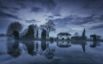 clouds, trees, lake, reflection, house, england, normanton he's a cop
