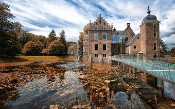 clouds, trees, water, the sun, leaves, park, bridge, castle, autumn, fountain, pond, netherlands, ruurlo castle