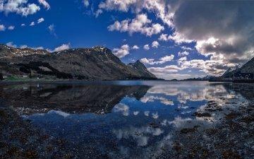 облака, горы, отражение, норвегия, лофотенские