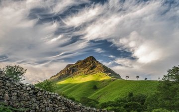 clouds, stones, mountain, the fence, england, the lake district, barrow