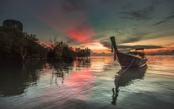 clouds, lake, sunset, boat, glow, thailand, krabi