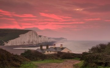clouds, sea, home, england, glow, strait, sussex, chalk cliffs, seven sisters, the channel