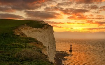 clouds, sea, rock, lighthouse, england, glow