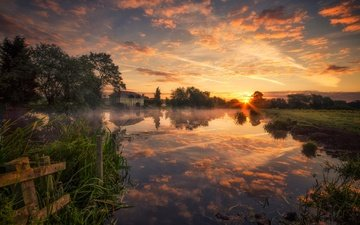 clouds, river, sunrise, reflection, morning, dawn, england, house, nottinghamshire, river soar, the river soar