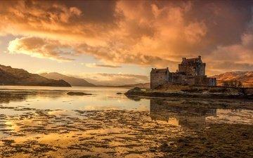 облака, вечер, озеро, шотландия, замок эйлен-донан