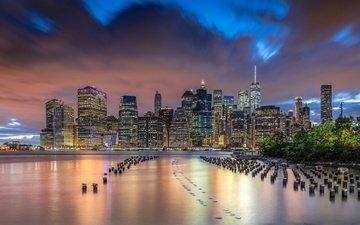 огни, дома, сша, нью-йорк, небоскрёб